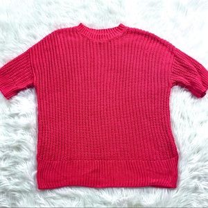 H&M Neon Hot Pink Oversized Knit Sweater